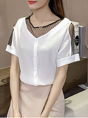 Summer  Chiffon  Women  Round Neck  Patchwork See-Through  Decorative Button  Plain  Short Sleeve Blouses