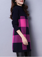 High Neck  Color Block Pullover