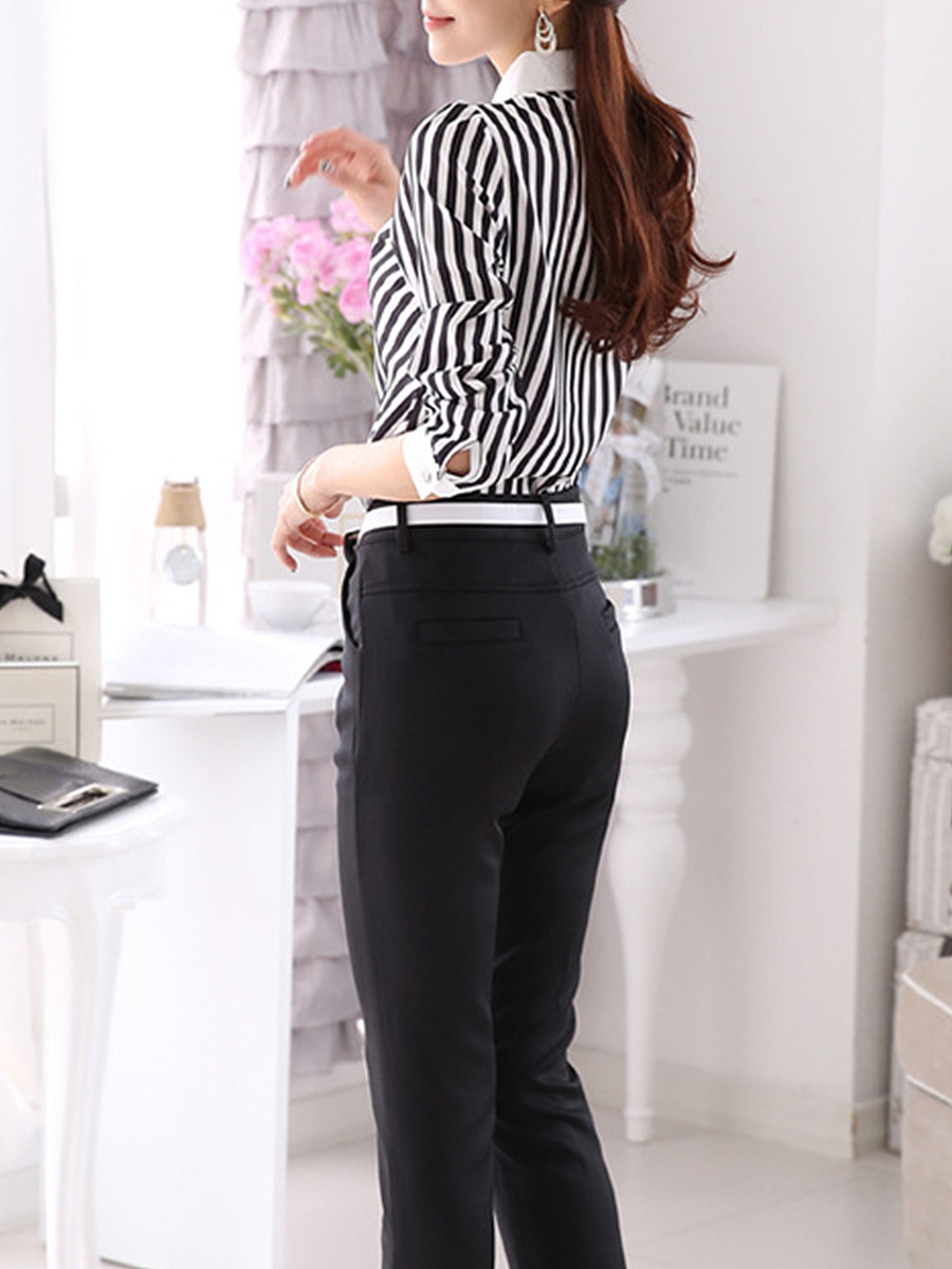 Autumn Spring  Polyester  Women  Fold-Over Collar  Decorative Lace  Striped  Long Sleeve Blouses
