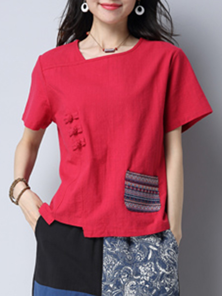 Asymmetric Neck Printed Pocket Short Sleeve T-Shirt