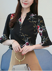 V-Neck Floral Ruffled Sleeves Blouse