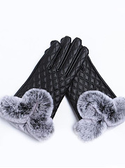 Warm  Plaid Fur Decorative Leather Gloves