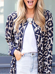 Collarless  Leopard  Long Sleeve Jackets
