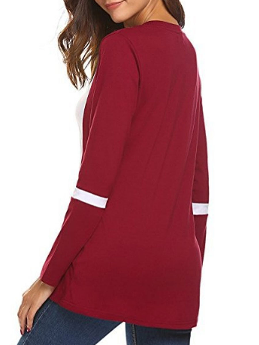 Autumn Spring  Cotton  Women  Round Neck  Patchwork  Plain Long Sleeve T-Shirts
