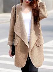 Lapel-Plain-Loose-Knitted-Coat