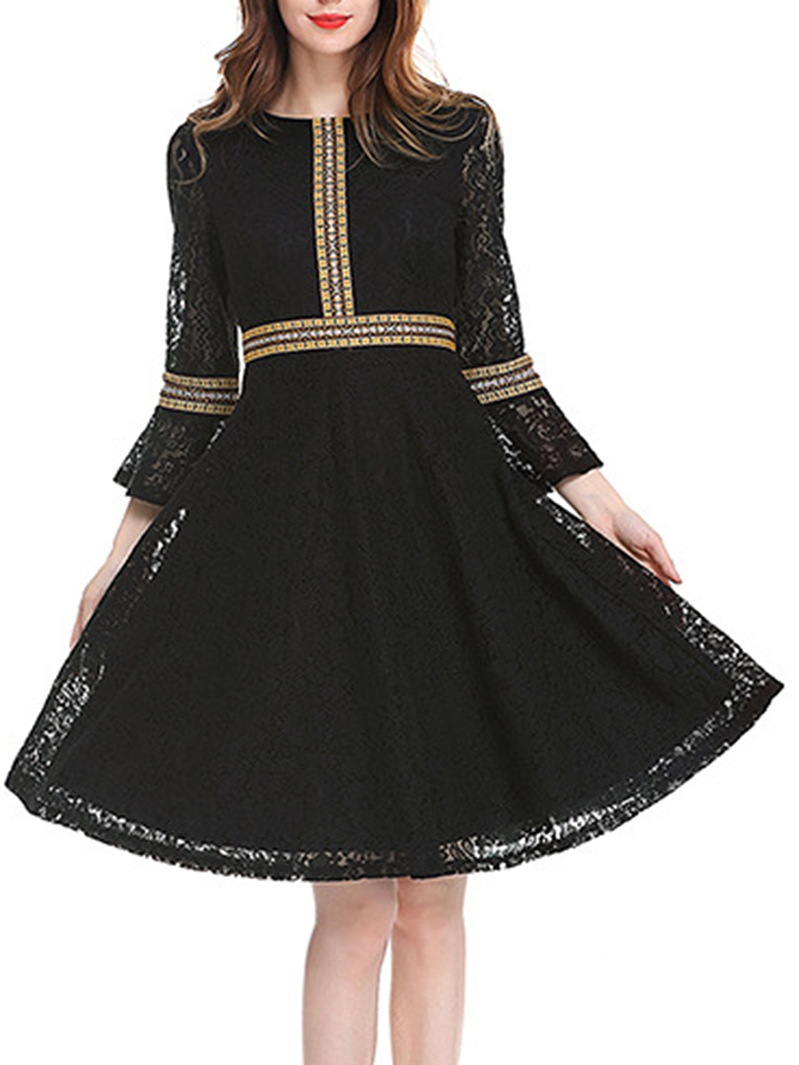 Vintage Round Neck Hollow Out Skater Dress