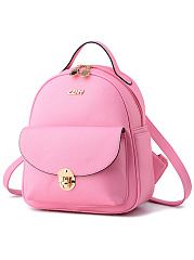 Color Block Pu Backpack