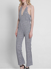 Black White Polka Dot Spaghetti Strap Back Hole Straight Jumpsuit