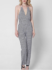 Black-White-Polka-Dot-Spaghetti-Strap-Back-Hole-Straight-Jumpsuit