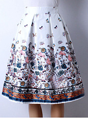 Exquisite-Elastic-Waist-Printed-Layered-Midi-Skirt