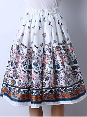 Exquisite Elastic Waist Printed Layered Midi Skirt