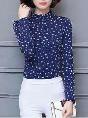 Band Collar Tiny Flower Printed Long Sleeve T-Shirt