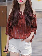 Spring Summer  Polyester  Women  Open Shoulder  Backless  Striped  Batwing Sleeve  Three-Quarter Sleeve Blouses