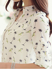 Autumn Spring  Chiffon  Women  V-Neck  Single Breasted  Decorative Button  Printed  Cuffed Sleeve  Long Sleeve Blouses