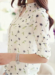 Autumn-Spring-Chiffon-Women-V-Neck-Single-Breasted-Decorative-Button-Printed-Cuffed-Sleeve-Long-Sleeve-Blouses
