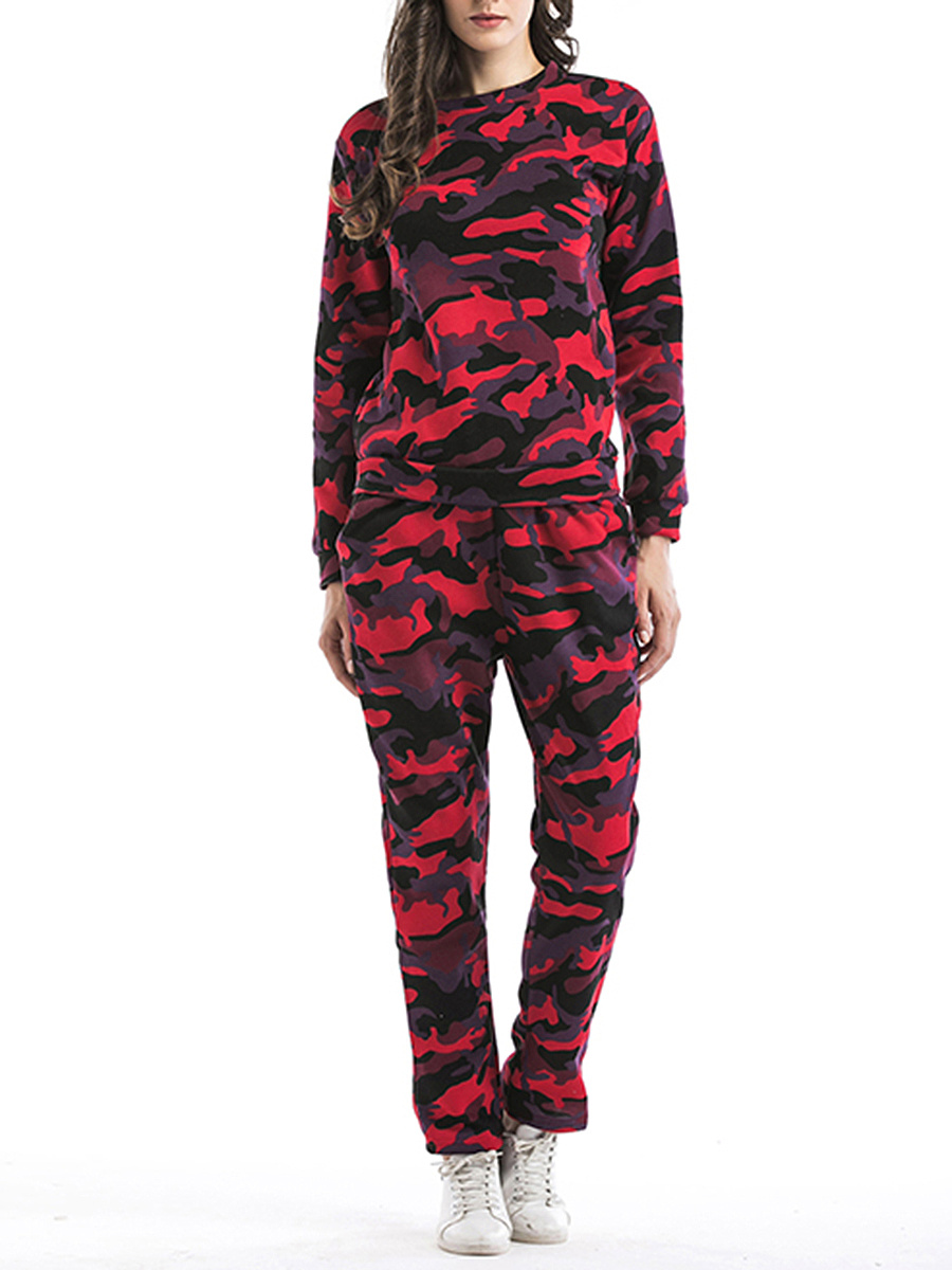 Camouflage Crew Neck Sweatshirt And Slim-Leg Pants