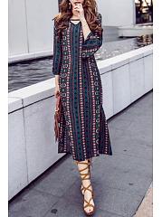 V-Neck-Side-Slit-Belt-Bohemian-Bell-Sleeve-Maxi-Dresses