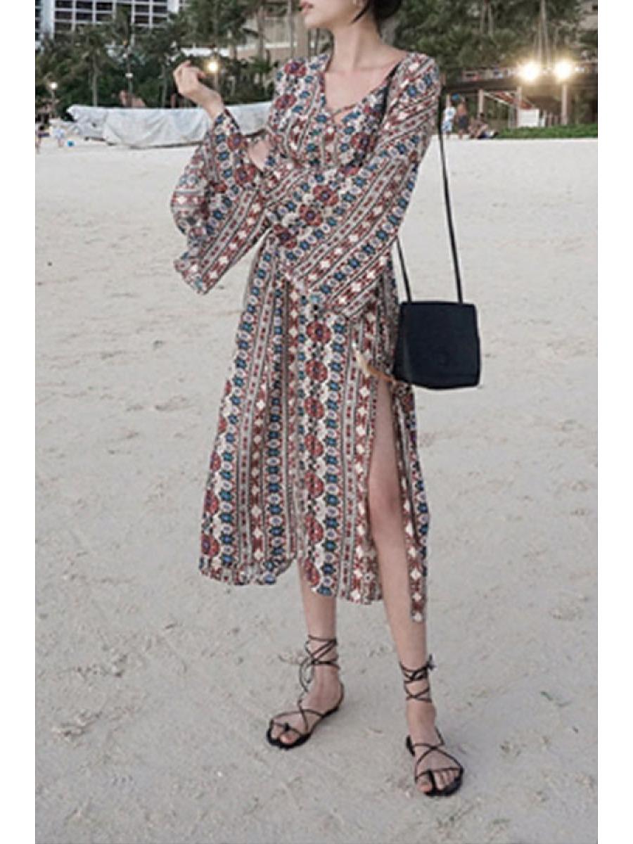V Neck Side Slit Belt Bohemian Bell Sleeve Maxi Dresses. V ...