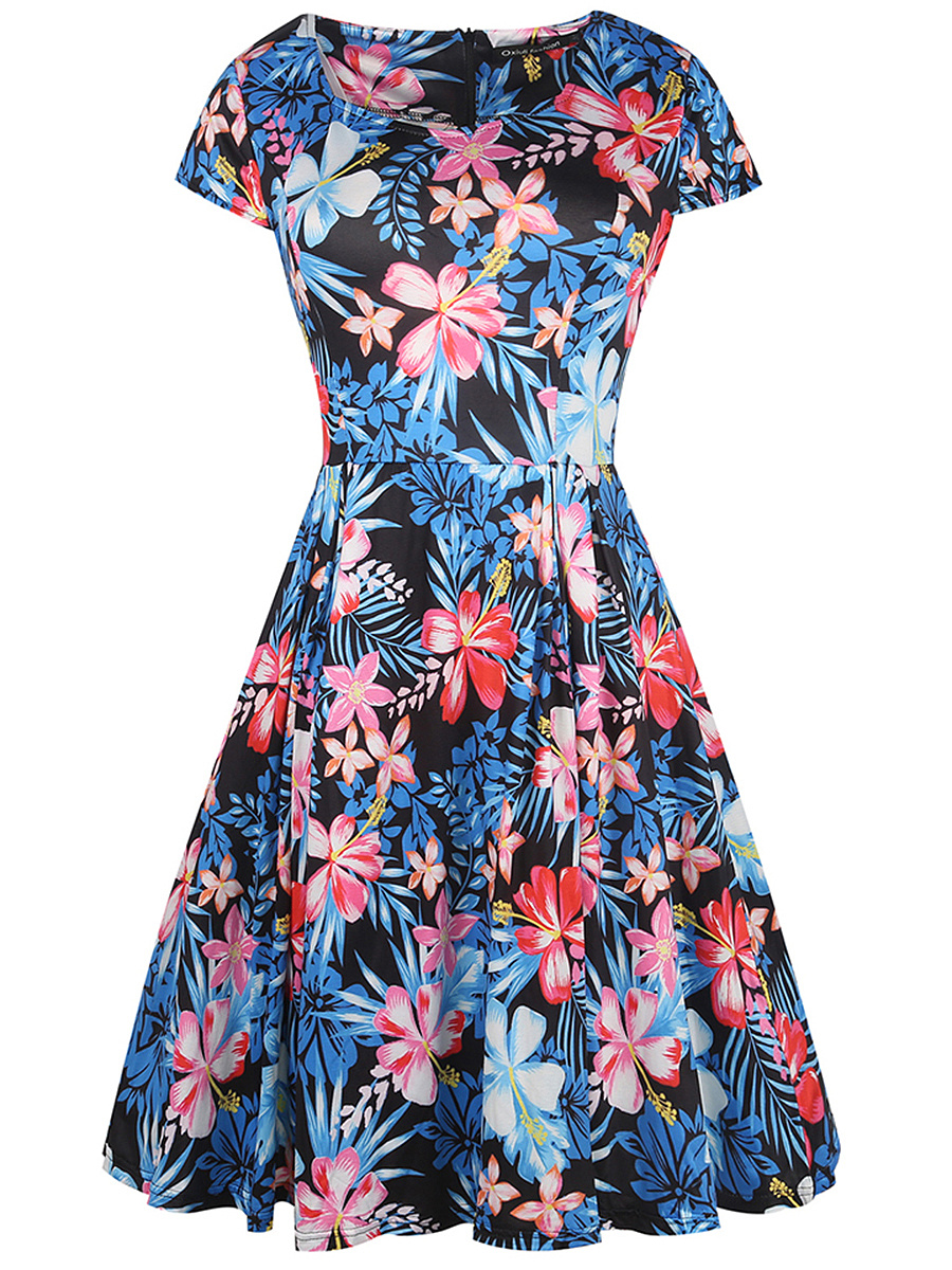 Fantastic Floral Printed Sweet Heart Skater Dress