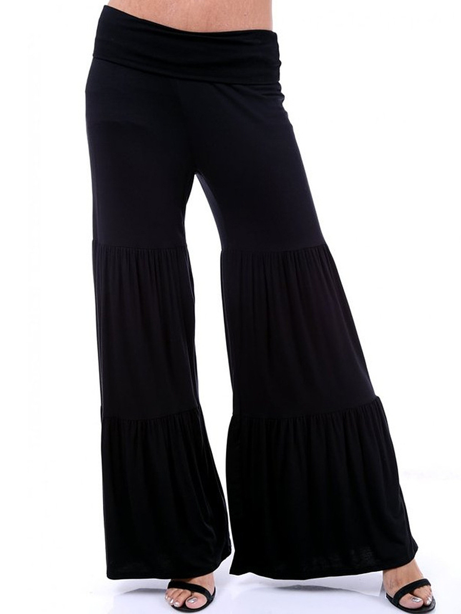 Plain Wide-Leg Ruffled Hem Casual Pants