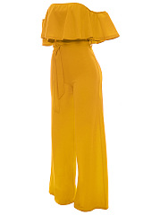 Off Shoulder Flounce Plain  Wide-Leg Jumpsuit