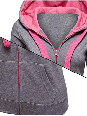 Fitted Patch Pocket Zips Hoodie