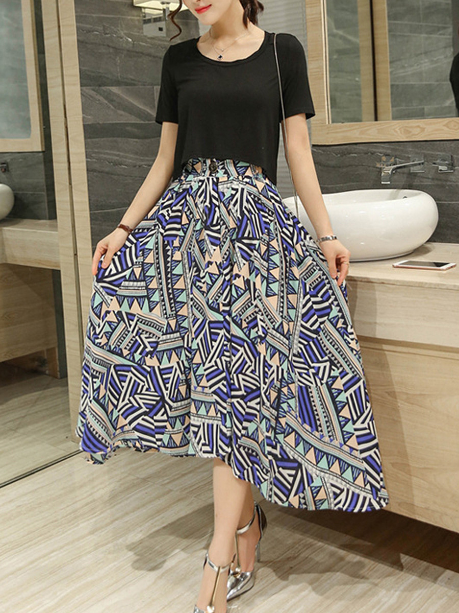 Round Neck Crop Top And Asymmetric Hem Printed Flared Maxi Skirt