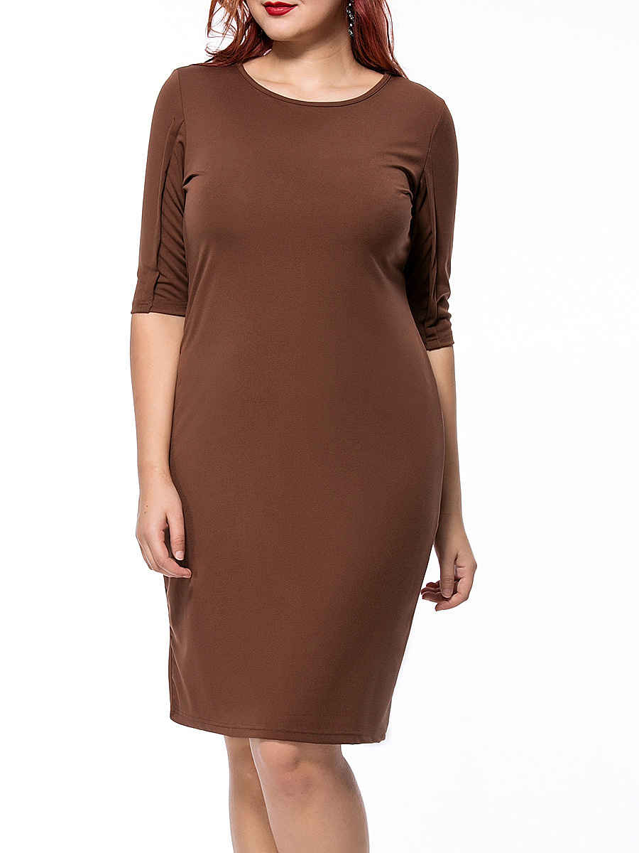 Round Neck Solid Plus Size Bodycon Dress With Half Sleeves