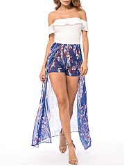 Off Shoulder Flounce Floral Hollow Out Maxi Romper
