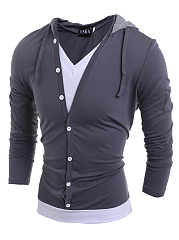 Men Hooded  Color Block Fake Two-Piece T-Shirt