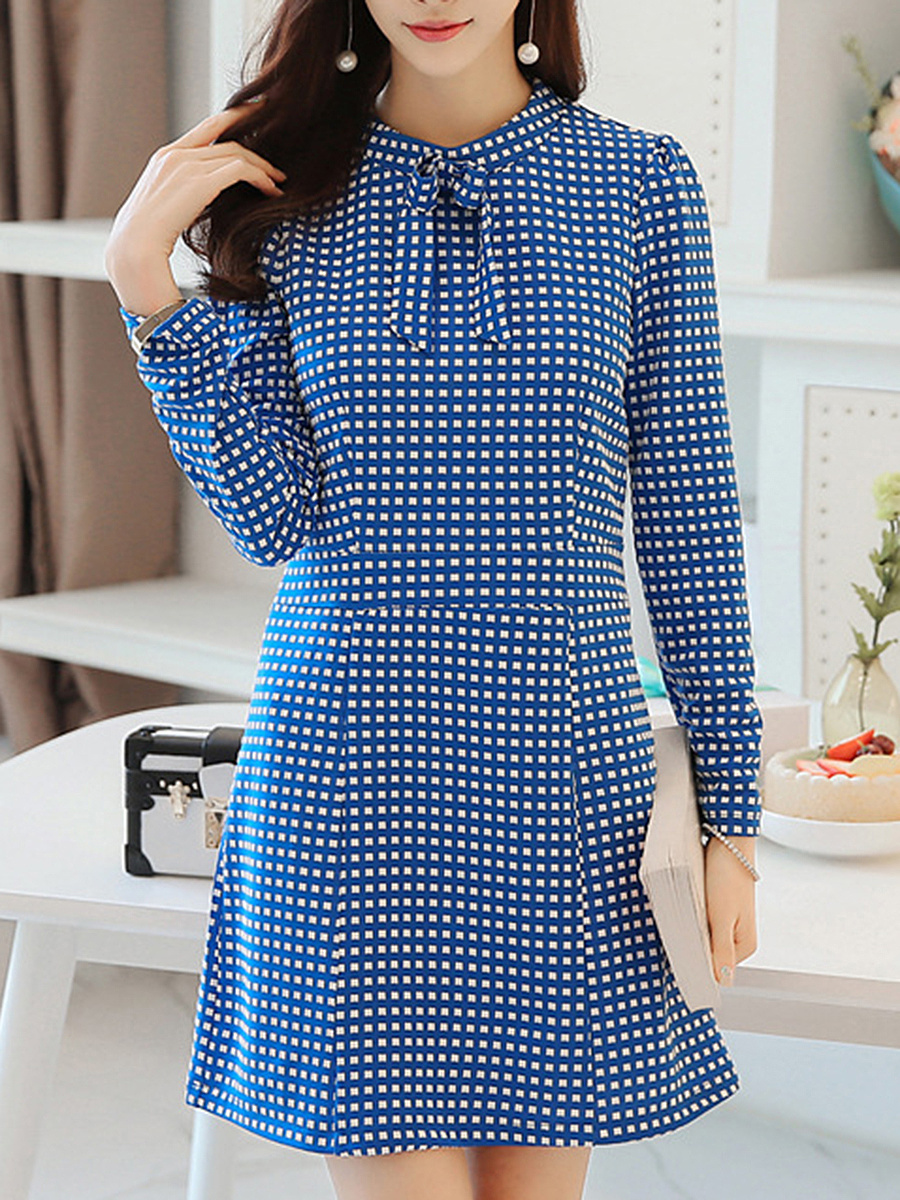 Band Collar Plaid Bowknot Bodycon Dress