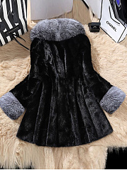 Faux Fur Collar  Peplum  Colouring  Long Sleeve Coats