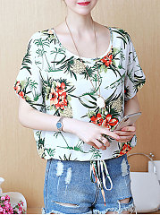 Summer  Polyester  Women  Round Neck  Drawstring  Floral Printed  Batwing Sleeve  Short Sleeve Blouses