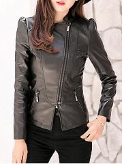 Trendy-Lapel-PU-Leather-Zips-Plain-Jacket