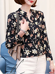 Autumn Spring  Chiffon  Women  V-Neck  Floral Printed  Long Sleeve Blouses