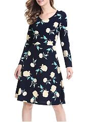 Vintage-V-Neck-Floral-Printed-Skater-Dress
