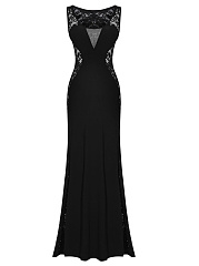 Round-Neck-Patchwork-See-Through-Plain-Polyester-Maxi-Dress
