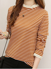 Band Collar  Patchwork  Stripes Long Sleeve T-Shirts