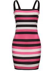 Spaghetti-Strap-Striped-Simple-Bodycon-Dress