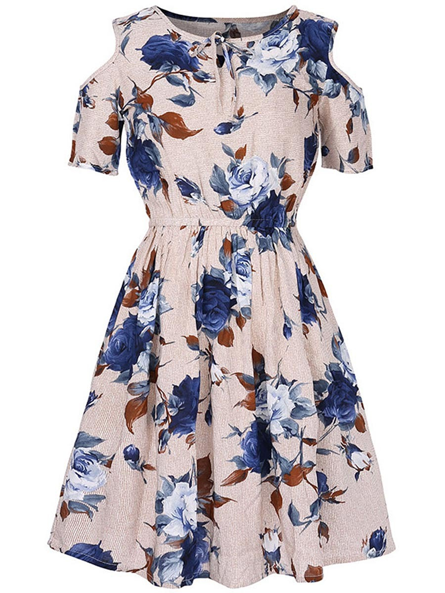 Casual Open Shoulder Printed Skater Dress
