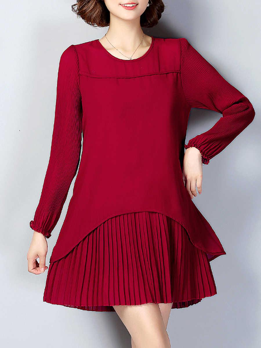 Round Neck Plain Chiffon Pleated Shift Dress