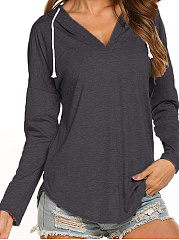 Hooded  Plain Long Sleeve T-Shirts