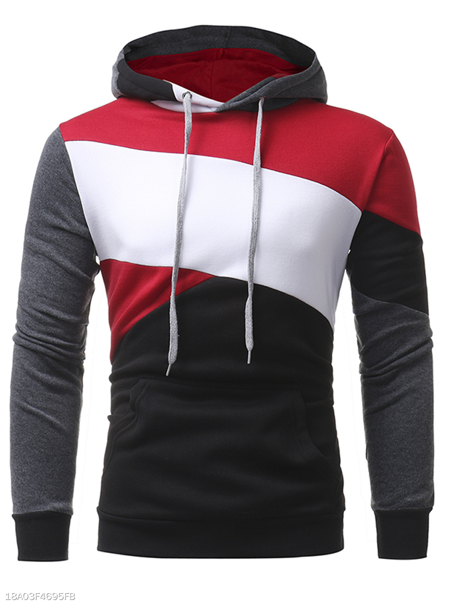 Kangaroo Pocket Color Block Men Hoodie