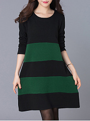 Round-Neck-Color-Block-Blend-Shift-Dress
