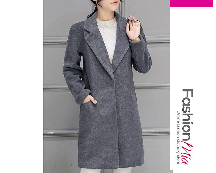 Lapel  Decorative Hardware  Plain  Long Sleeve Coats
