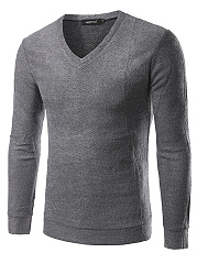 V-Neck  Plain Men Basic Sweater