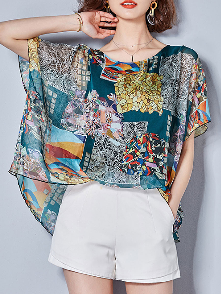 Summer  Chiffon  Women  Round Neck  Abstract Print  Short Sleeve Blouses