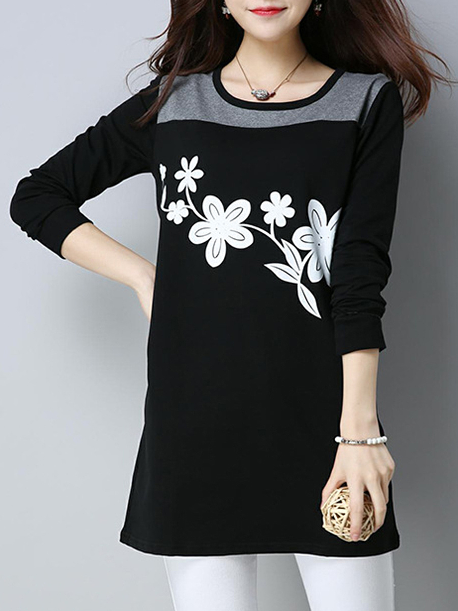 Color Block Printed Long Sleeve T-Shirt