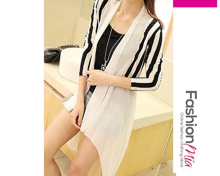 Image of Asymmetric Hem Patchwork Striped Long Sleeve Cardigans