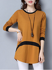 Color-Block-Curved-Hem-Long-Sleeve-T-Shirt